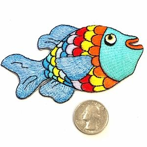 Fish patch iron on rainbow cute